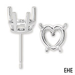 Heart 4-Prong Basket Friction Earring