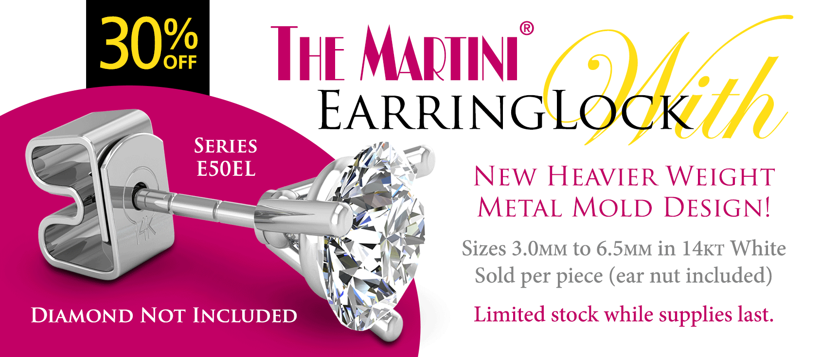 30% off Martini Earring with EarringLock
